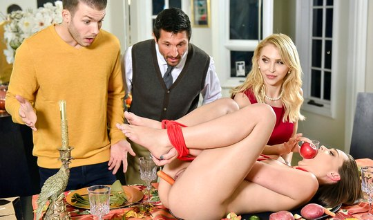 Brunette and blonde have arranged for dinner group sex with their husbands