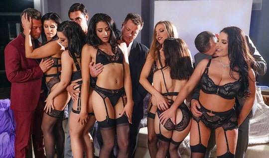The crowd of girls in stockings staged lecherous Orgy with orgasm