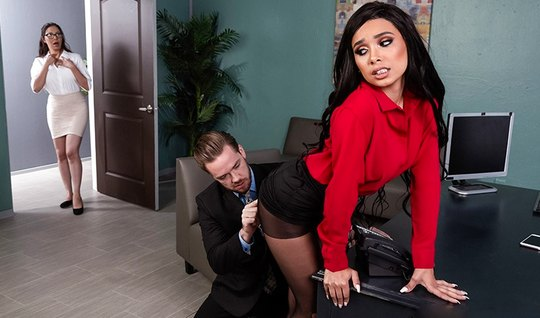 Horny Secretary in stockings inserts hairy slit whipping with the boss...
