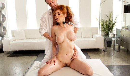 Redhead mom with big milkings framed holes whipping with the masseur...
