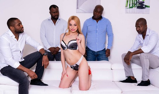 Slender blonde at an Orgy with blacks gets group anal sex and orgasm