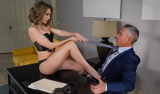 Brunette Secretary indulges boss and brings him to orgasm in the office...