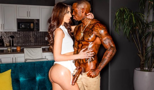 Black man with a brunette in different poses having sex and cumming