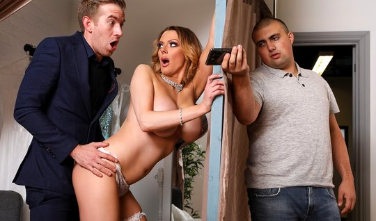 Wife with big milkings cheating on her husband with a young libertine...