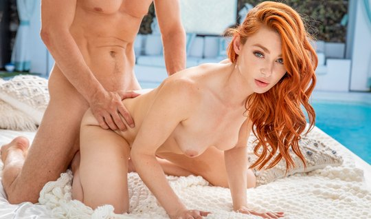 Redhead girl after kissing got cancer for a spanking with a man