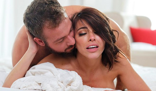 Brunette after gets Blowjob from bearded guy soft sex