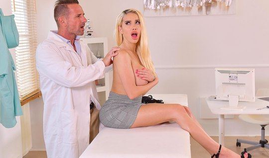 Blonde with big milkings right in the doctors office come from sex