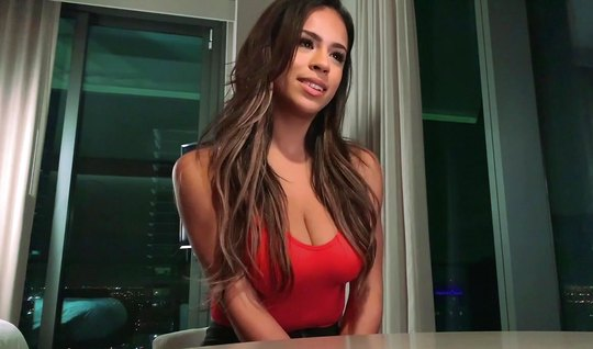 Busty brunette home Blowjob after a pussy sat on the phallus man