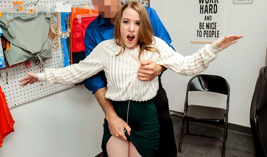 A young girl in the office jumps on the member of a lecherous guard