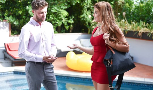 Anal mom lifts up a red dress and rubs a realtor's cock with her ass