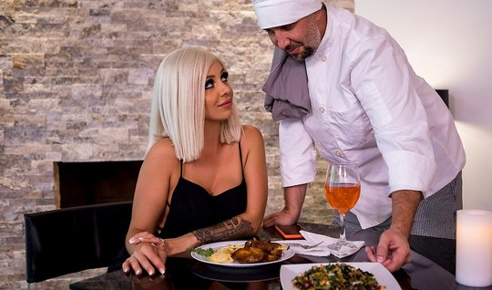 Blonde in stockings anal fucked by chef for complimenting his dishes