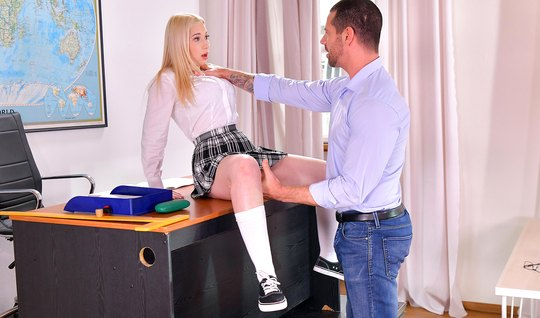 The teacher pulls the panties off the blonde student and shoves a dick in her pussy