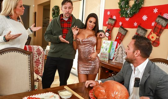 Brunette from Brazzers congratulated the hunk with a beautiful fuck on a black leather chair
