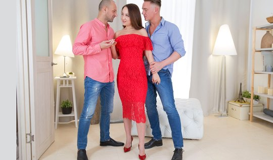 Russian takes off her red dress and wants double penetration in the ass from friends