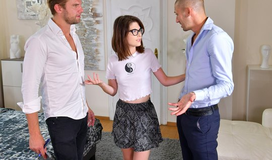 Two teachers penetrate all holes of a student with glasses and a miniskirt