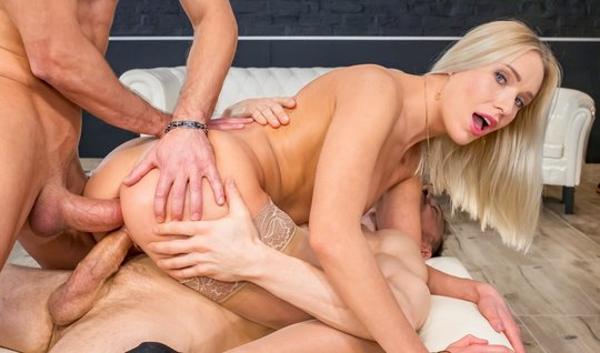 Blonde in stockings anal doggy style with two handsome guys and finished