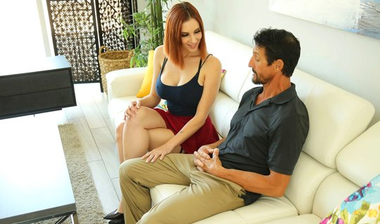 Redhead on a bet showed big boobs to a mature tutor and had sex