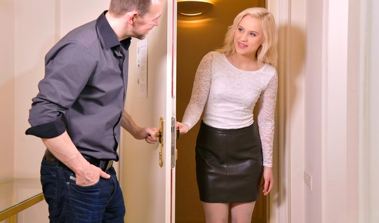 Russian blonde came on a date and got a big dick in holes...