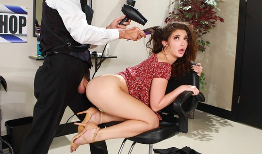 Anal girl from Brazzers doggy style on the barber's big cock