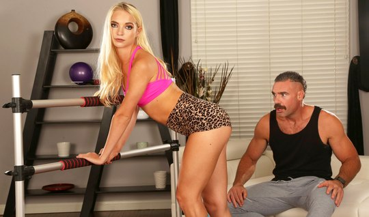 The anal hole of the blonde in the gym polishes the thick cock of a mustachioed hunk