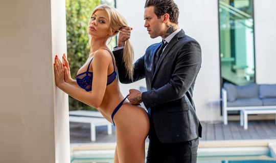 Premium blonde came to hardcore sex with a harsh businessman in a business suit