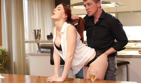 Redhead after a romantic dinner gave a doggystyle in her pussy to a strong lover...