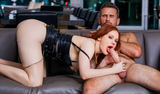Redhead chick sucks off a huge phallus of a gray-haired cop and swallows a delicious cum
