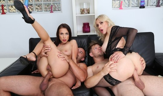 Double Penetration Gangbang Brings Naughty Women In Heels A Sea Of Cum...