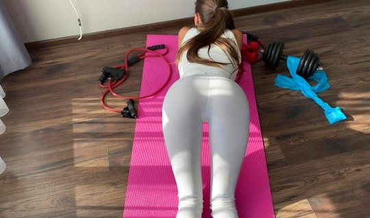 Girl in leggings POV substitutes pussy for sex and orgasm