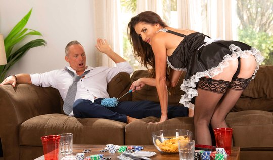 A mature lady in the role of a maid spreads her legs in stockings for sex with a guy