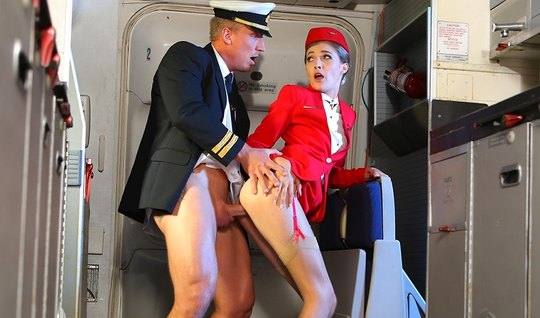 Stewardess beauty is in the plane inserts his crack for sex
