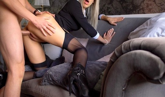 Blonde in stockings has agreed to shoot homemade porn in the pose of cancer
