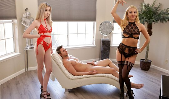Two insatiable Babes have arranged for one guy group sex...