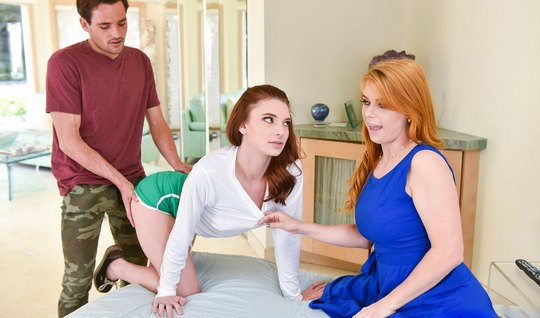 Redhead mom teaches son and his bride in a beautiful sex