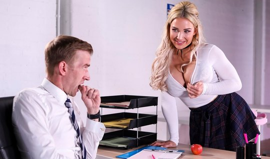 Student with big milkings seduced teacher sex in class