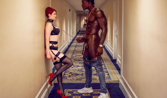Obedient redhead girlfriend in stockings indulges the needs of the Negro of Mr